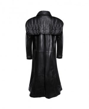 Black Leather Trench Coat with Quilted Gun Flap