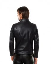 Mens Black Lambskin Leather Jacket with Buttoned Throat Tab