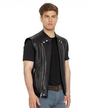 Mens Black Leather Moto Vest with quilted panels