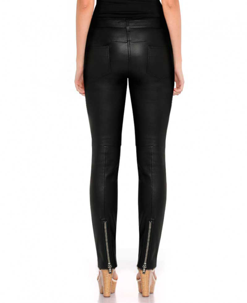 06f485530947f Womens Black Leather Pants with Ankle Zipper – Custom Leather Store ...