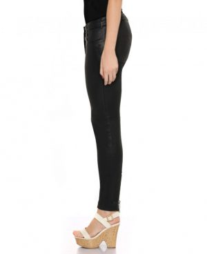 Womens Black Leather Pants with Ankle Zipper