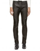 Mens Elegant Black Leather Pants with Ribbed paneling