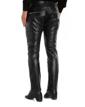 Mens Classy Black Leather Pants with Studs