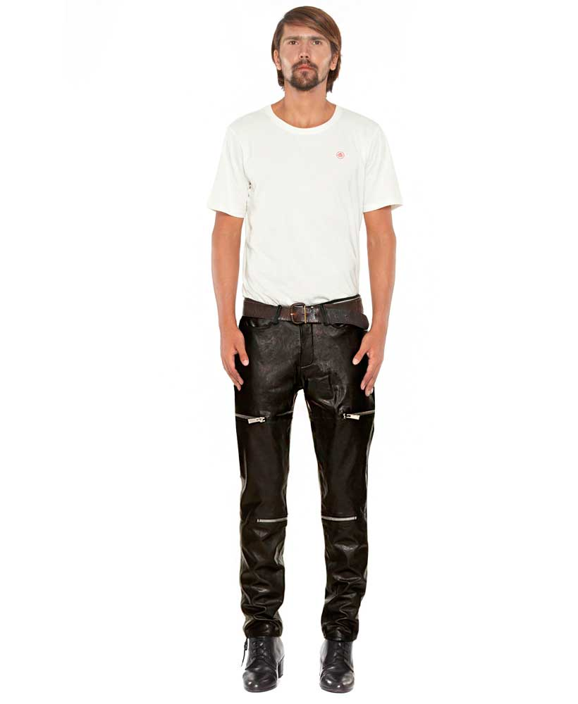 Mens Black leather Pants with Zipper Embellishments 1