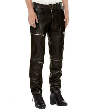 Mens Black leather Pants with Zipper Embellishments