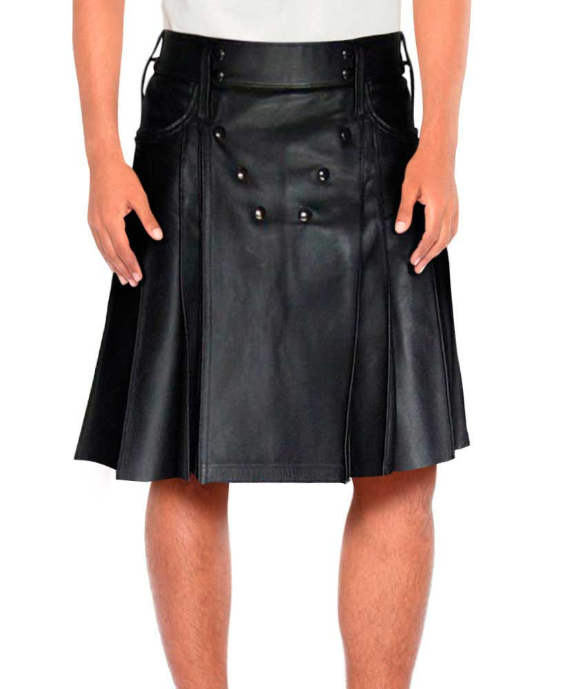BLACK-LEATHER-PLEATED-KILT-front-2
