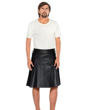 Mens Black Leather Pleated Kilt with Button Embellishments