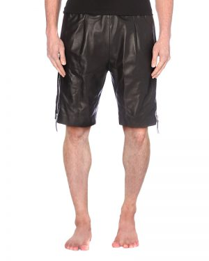 Mens Black Leather Shorts with Side Zippers