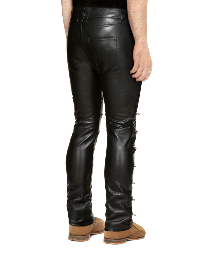 1fdde7a1e0 Mens Black Skinny Leather Pants with Zippered Front – Custom Leather ...