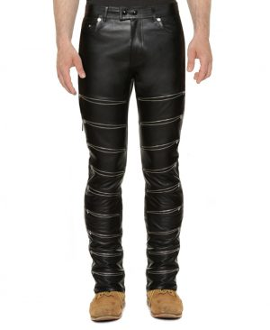 Mens Black Skinny Leather Pants with Zippered Front