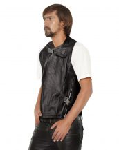 Mens Black Leather Motorcycle Vest with Buckle Harness