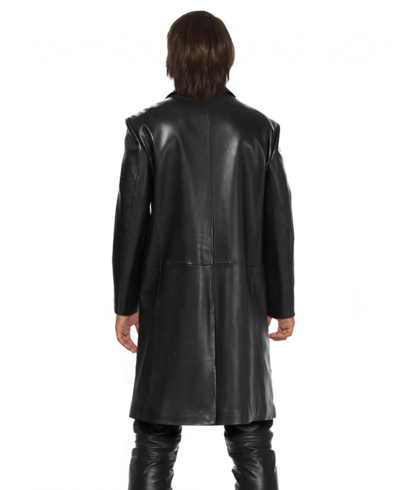 Notch Lapels Long Leather Coat for Men- LeatherRight
