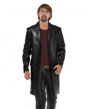 Black Lambskin Leather Long Coat for Men with Notched Lapels
