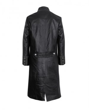 Classy Black Military Style Leather Coat