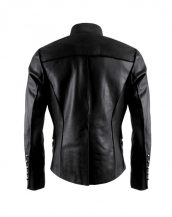 Mens Black Military Leather Jacket with Asymmetrical Button Placket