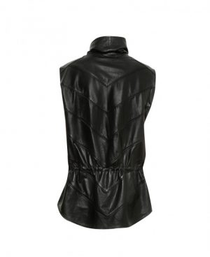 Mens Black Paneled Leather Poncho Costume