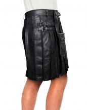 Pleated Black Leather Kilt for Men with Pouch Belt