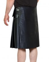 Mens Casual Black Leather Kilts with Side Adjustable Buckle Tabs
