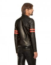 Mens Studded Black & Red Leather Biker jacket