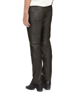 Mens Designer Black leather Slim Fit Trouser