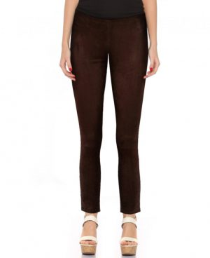 Womens Brown Suede Pants with Ankle Zippers