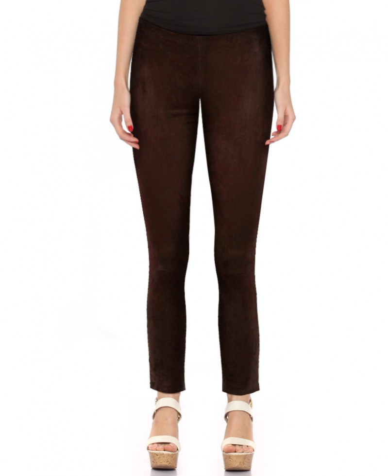 Womens Brown Suede Pants with Ankle Zippers 1