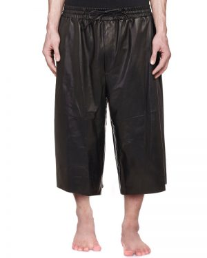 Mens Three Quarter Black Leather Shorts