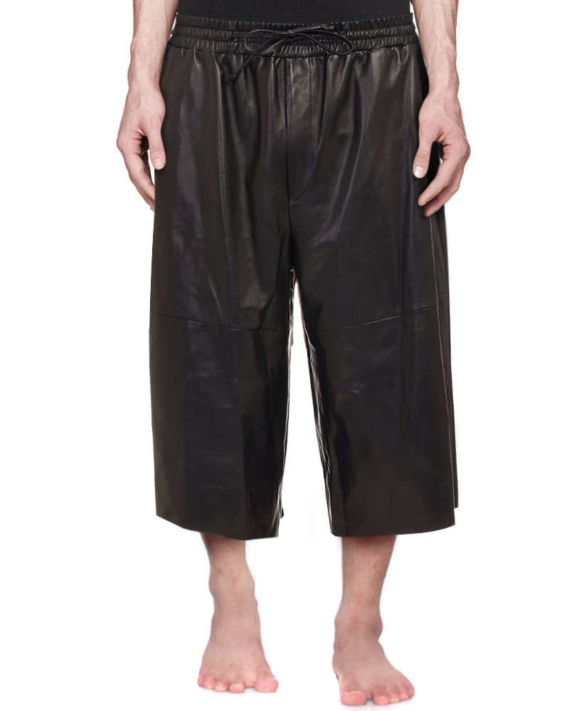 Mens Three Quarter Black Leather Shorts 1
