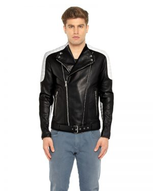 Mens Black and White Leather Biker Jacket with Waist Belt