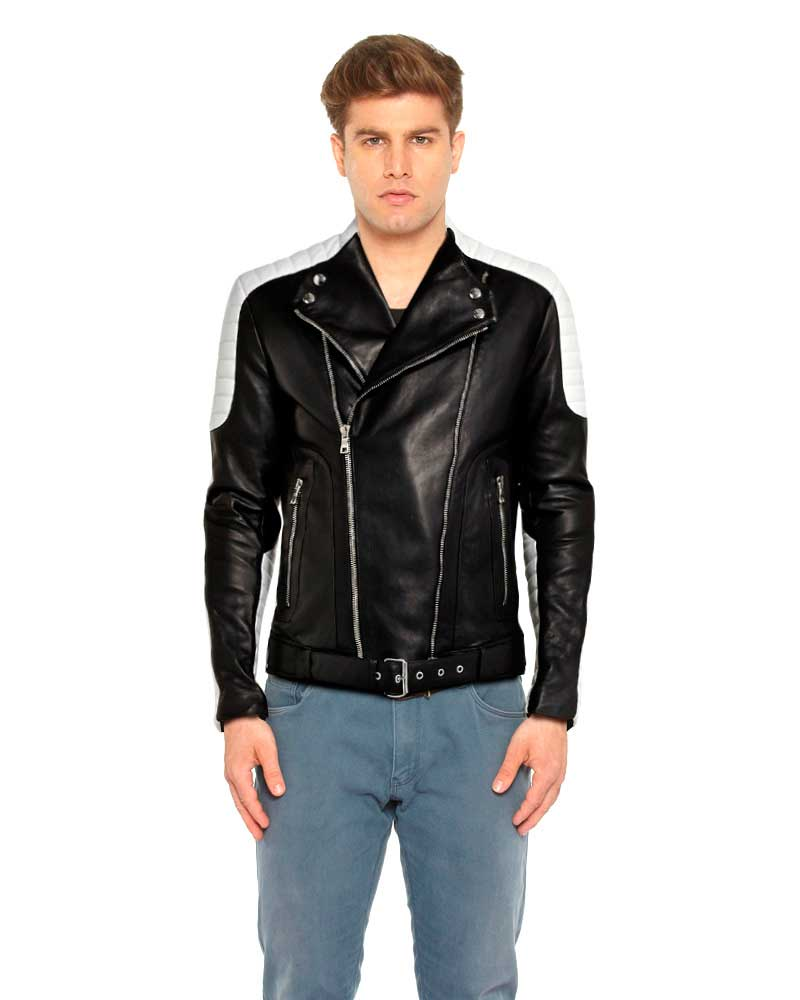 Mens Black and White Leather Biker Jacket with Waist Belt 1