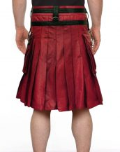 Mens Designer Red & Black Studded Leather Kilt with Chain Accent