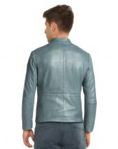 Mens Casual Leather Jacket with Shoulder Patches