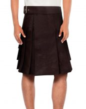 Mens Brown Leather Kilt with Waist Belt
