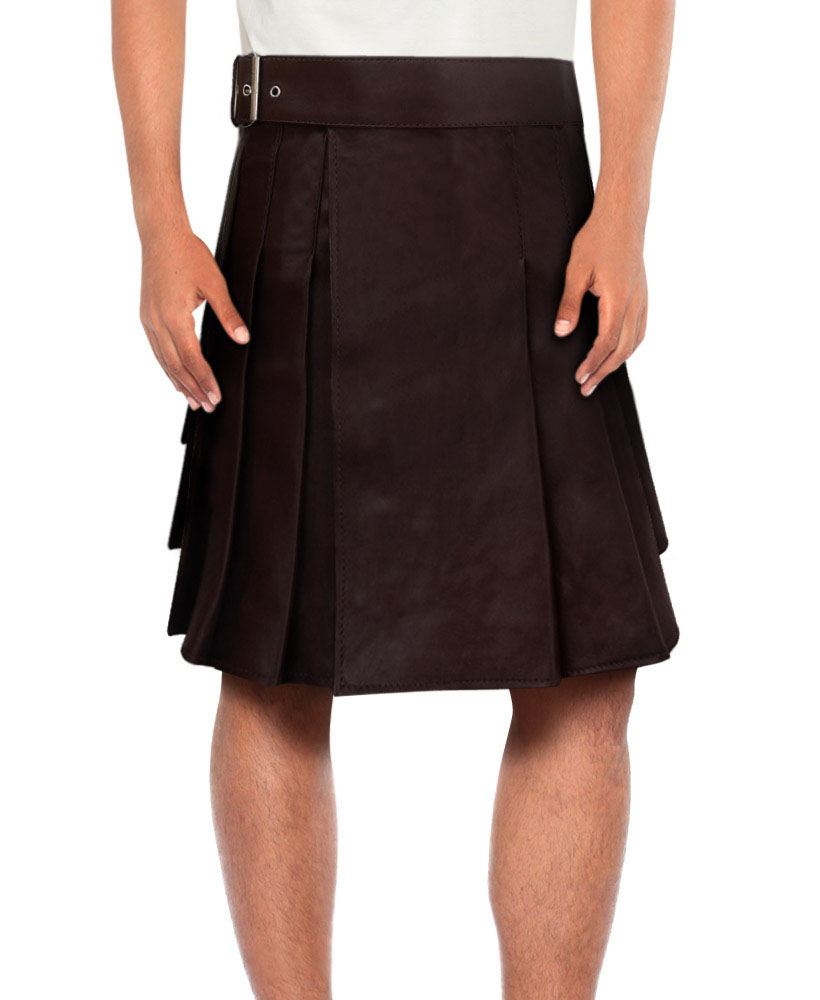 Mens Brown Leather Kilt with Waist Belt 1
