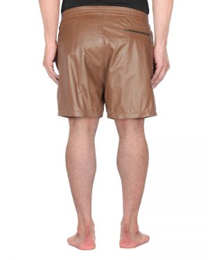 Mens Leather Shorts with Zippered Pockets