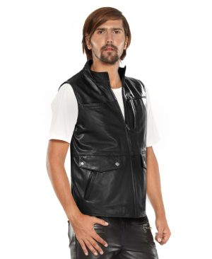 Mens Black Leather Biker Vest with Faux Flap Pocket