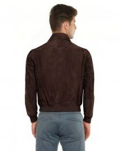 Brown Suede Bomber Jacket with Flap Patch Pockets