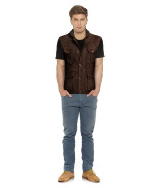 Mens Brown Motorcycle Vest with Ribbed Collar
