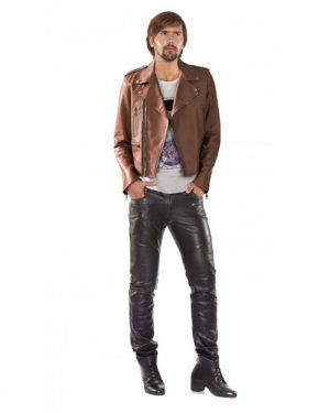 Exclusive Lambskin Leather Moto Jacket For Men