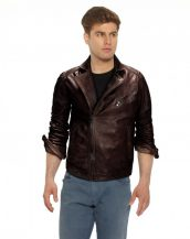 Mens Brown Leather Motorcycle Jacket with Notch Lapel Collar