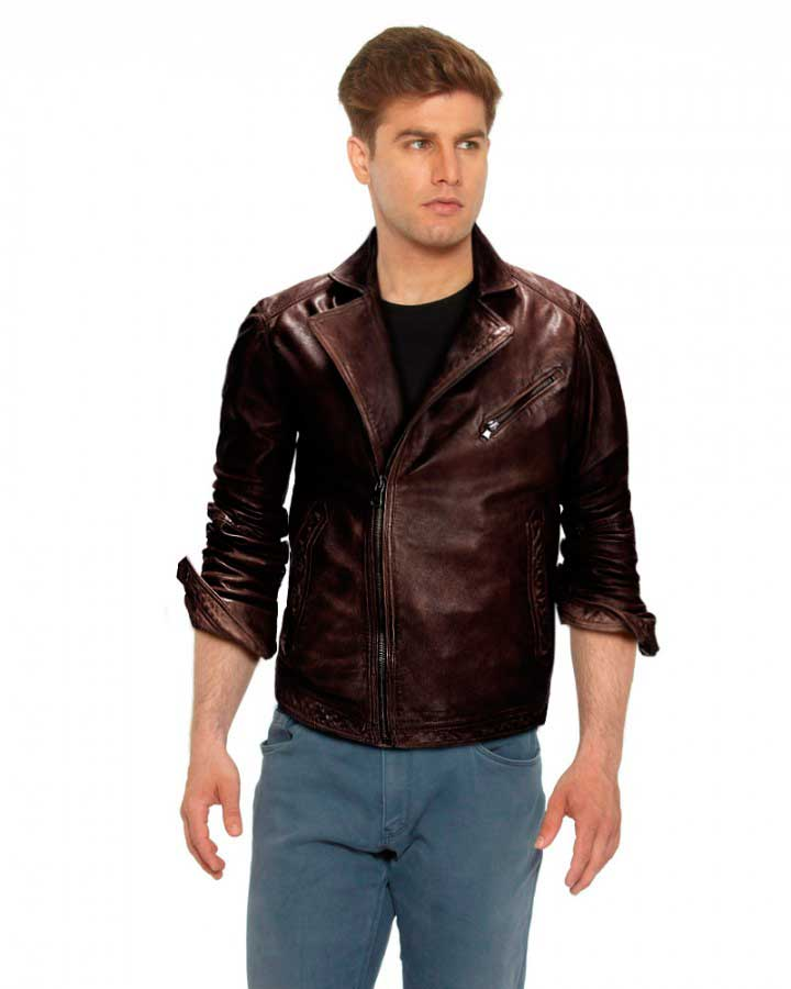 Brown Leather Biker Jacket - Jacket