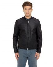 Mens Classic Black Leather Moto Jacket