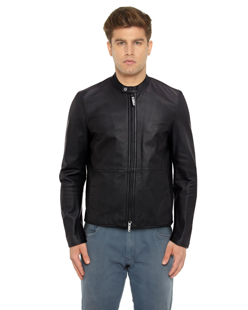 Mens Classic Black Leather Moto Jacket 1