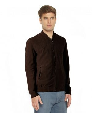 Mens Classic Brown Suede Bomber Jacket with Round Collar