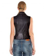Womens Black Leather Vest with Notch Collar