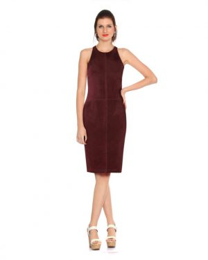 Womens Marsala Leather Dress with Cutout Back