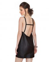 Womens V Neck Leather Dress in Camisole Style
