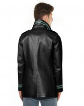Men Double Breasted Lamb Leather Coat with Stripe Detail