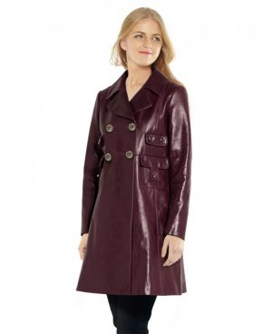 Womens Double Breasted Leather Coat with Pocket Detailing