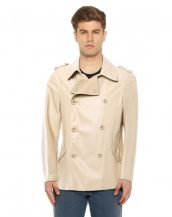 Classy Double Breasted Leather Coat with Shoulder Epaulettes